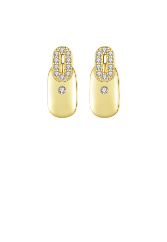 Glamorousky white 925 Sterling Silver Plated Gold Fashion Simple Geometric Oval Stud Earrings with Cubic Zirconia 377BFAC4792B64GS_1