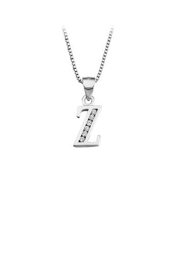 Glamorousky white 925 Sterling Silver Fashion Simple English Alphabet Z Pendant with Cubic Zirconia and Necklace FE9A4AC3C8681DGS_1