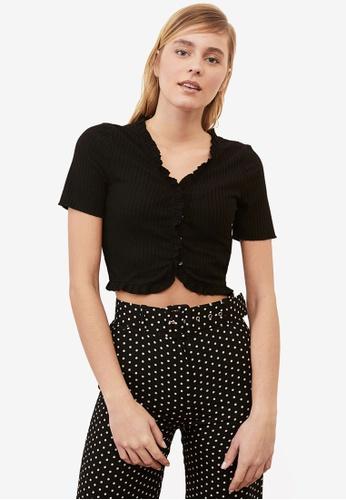 Trendyol black Frilly Hem Short Sleeve Top A630AAA70ECA5BGS_1