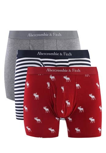 Abercrombie & Fitch grey and red and multi and navy Multipack Briefs 07429USB0386DDGS_1