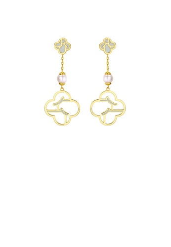 Glamorousky silver 925 Sterling Silver Plated Gold Simple Personality Garden Window Earrings with Freshwater Pearls 7BF44ACCA576DFGS_1