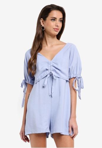 LOST INK blue Tie Sleeve Playsuit C5693AAB9EFE13GS_1