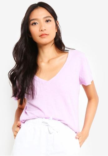 Cotton On purple The Deep V Tee 74DD2AAA0FD5E2GS_1