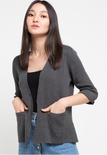 Noir Sur Blanc grey Ladies Cardigan 3A2F7AAE428427GS_1