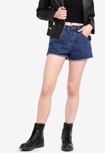 Something Borrowed blue Contrast Wash Cut-Off Shorts 20F64AA8AC097CGS_1