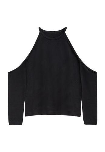 KLAPS 黑色 美麗諾羊毛挖肩領針織毛衣 48057AA6B4AE91GS_1