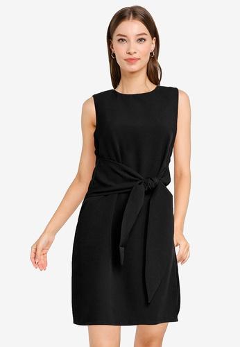 ZALORA WORK black Front Tie Dress 7B114AA5C687F4GS_1