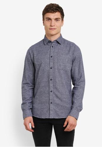 !Solid blue Kaedyn Pocketed Flannel Shirt SO701AA0S2URMY_1