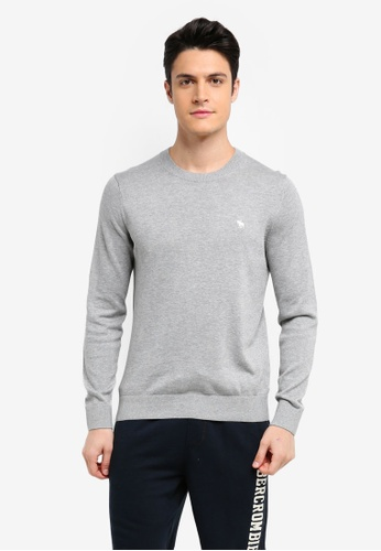 Abercrombie & Fitch grey Crew Neck Knit Sweater 86734AA922C05CGS_1