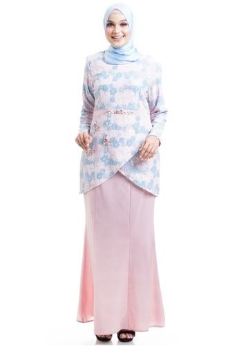Ashura pink and multi Sayuri Kurung With Layered Flare 33B8DAA45E81D5GS_1