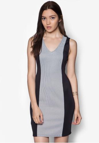 V 領雙色拼接連esprit高雄門市身裙, 服飾, 洋裝