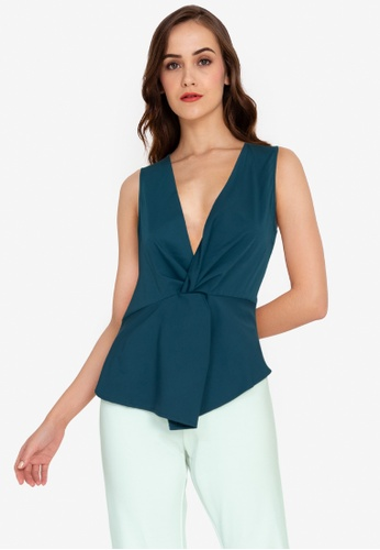 ZALORA WORK blue Front Knotted Blouse 849C0AA2D04052GS_1