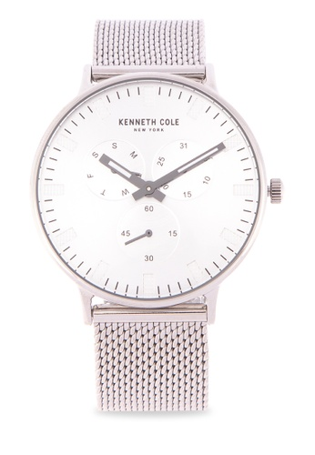 5fafa480675 Kenneth Cole silver Men s  Sport  Quartz Stainless Steel and Leather Dress  Watch F3375AC57744F3GS 1