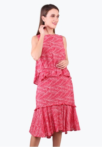 Elle red Printed Sleeveless Ruffle Top - Red 2F5D8AAE160212GS_1