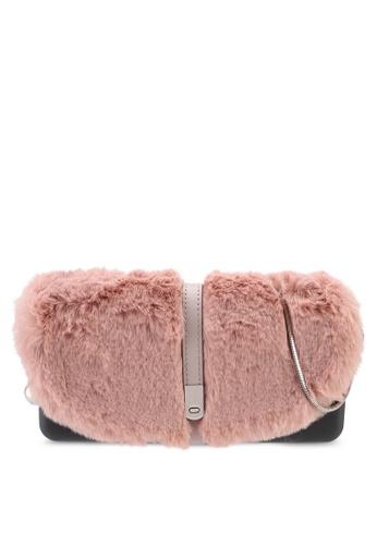Hoola Hoola grey Camilla Clutch - Lavastone Pink Fur with Snake Chain 52343AC83E6313GS_1