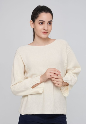 United Colors of Benetton white Boat Neck Sweater 8A06BAADF43410GS_1
