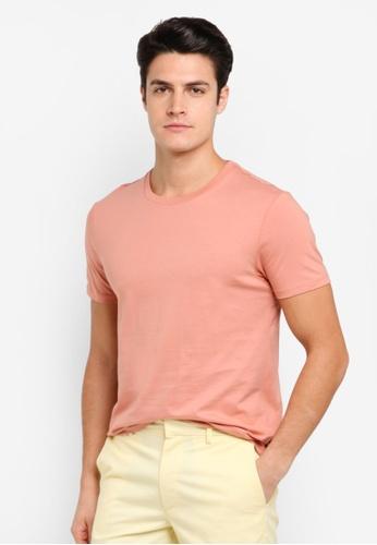 Burton Menswear London 橘色 Hot Coral Crew Neck T-Shirt BU964AA0T1HBMY_1