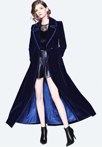 Twenty Eight Shoes navy VANSA Fashion Velvet Over The Knee Coat  VCW-C9005703 DCDA0AABE8CFD3GS_1