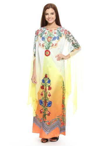 Devain Kapoor orange and yellow Oh So Meena Caped Kaftan with Swarovski Embellishments 0EF5EAA208D3B9GS_1