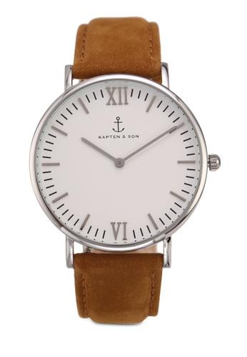 Kapten & Son brown Campus Silver Cognac Suede Leather Watch 1FF01ACD1EC170GS_1