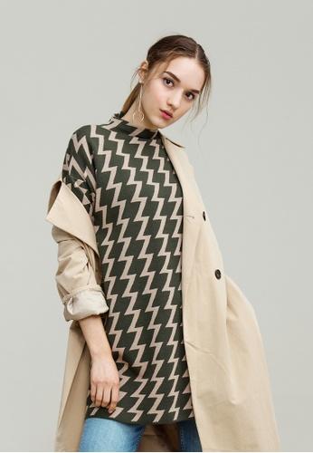 KLAPS green Zig Zac Patterned Dress 6B695AAB87D7BBGS_1