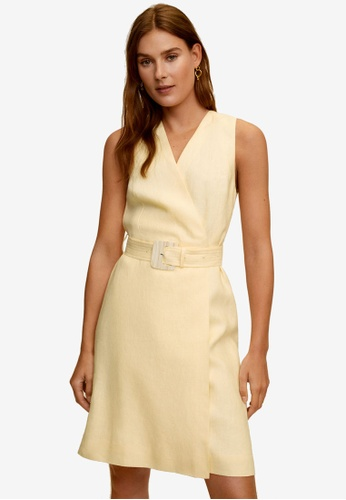 Mango yellow Belt Linen Dress E4280AA6FEF299GS_1