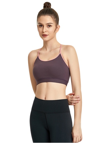 B-Code purple ZWG7019Lady Quick Drying Running Fitness Yoga Sports Bra -Purple A0C70USC995488GS_1