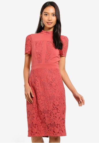Little Mistress pink Lace Panel Dress FBE73AA1EA219BGS_1