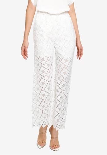 JEANASIS white Geometric Lace Pants 9C50EAA540DA34GS_1
