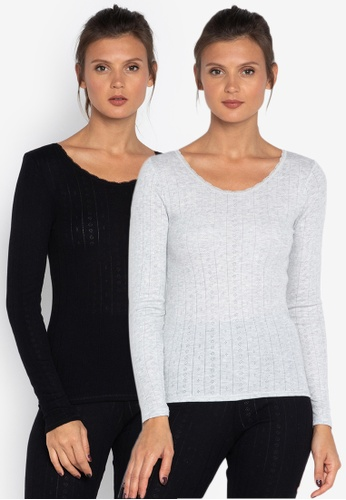 MARKS & SPENCER black and grey 2 Pack Thermal Long Sleeve Pointelle Tops 8D16AAAF3143B7GS_1