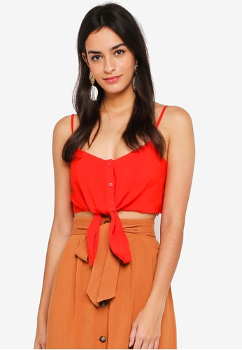 TOPSHOP red Petite Knot Front Cropped Cami Top 6D382AA55B83F1GS_1