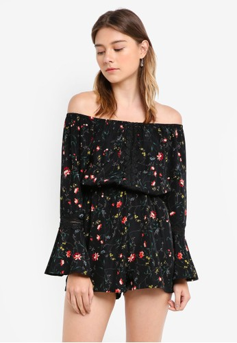 0ae1ab8a7ff Something Borrowed black and multi Lace Off Shoulder Romper  3701AAA4366B2AGS 1