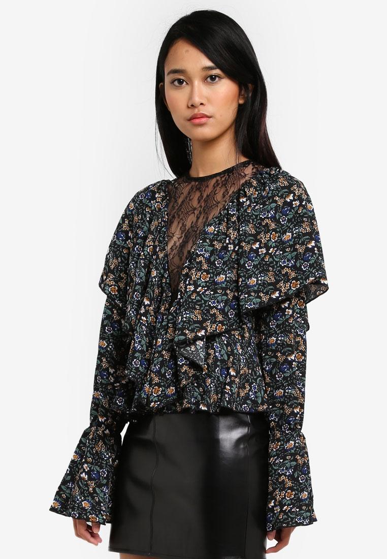 Blouse MISSGUIDED Floral Dark Lace Insert Black TrIIqZpwv