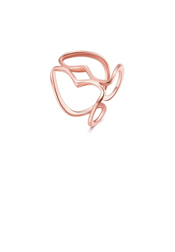 Glamorousky silver Simple and Fashion Plated Rose Gold Line Adjustable Ring 6DDCDAC2F82BE2GS_1