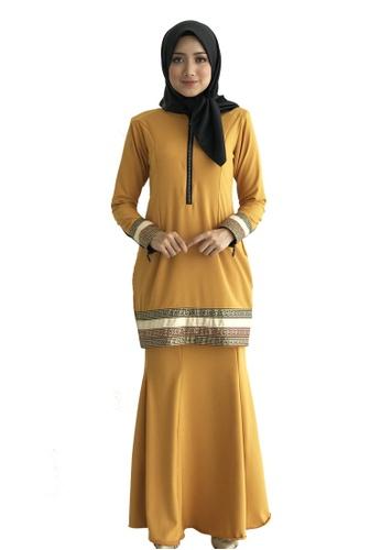 Farosa Kurung Alesha Mustard from Farosa in Yellow and Gold