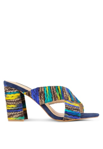 Nose navy Cross Strap Colorful Tweed Chunky Heels NO327SH0S6TOMY_1