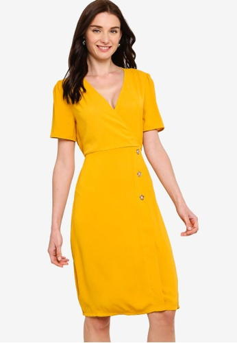 ZALORA yellow Overlap Button Detail Dress BBF0DAA53F9B7AGS_1