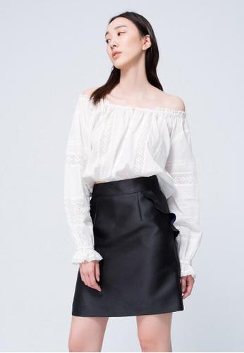 iROO black Ruffle Skirt 8A294AACDE47BEGS_1