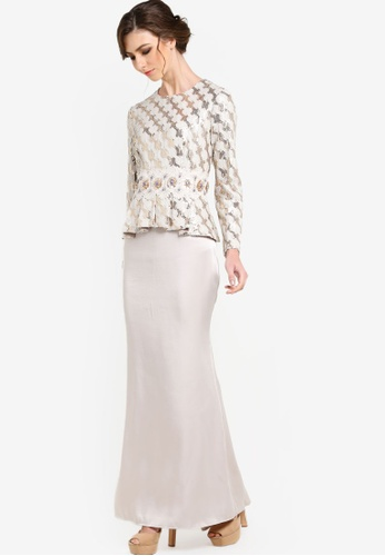 JLuxe gold and beige Serena Dress JL022AA62DTTMY_1