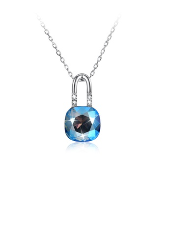 Glamorousky blue 925 Sterling Simple Elegant Fashion Lock Shape Pendant Necklace with Blue Austrian Element Crystal 3707AAC3FCF9D2GS_1