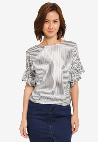 ZALORA navy Boxy Top With Ruffle Sleeve 3117AAACDC960EGS_1