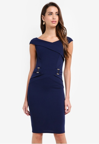 Lipsy navy Navy V Neck Buckle Waist Bodycon Dress C1315AA9F20CA7GS_1