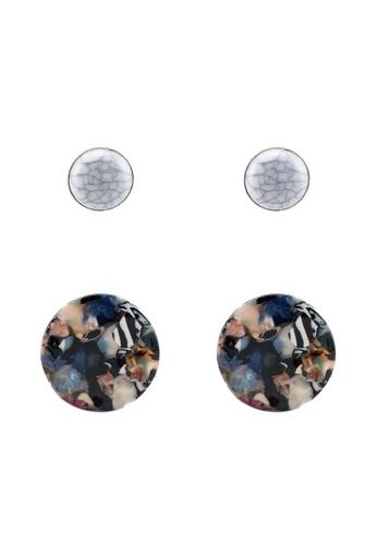 Red's Revenge multi 2-In-1 Round Resin & Marble Studs Earrings Set 54BDDACD275B28GS_1