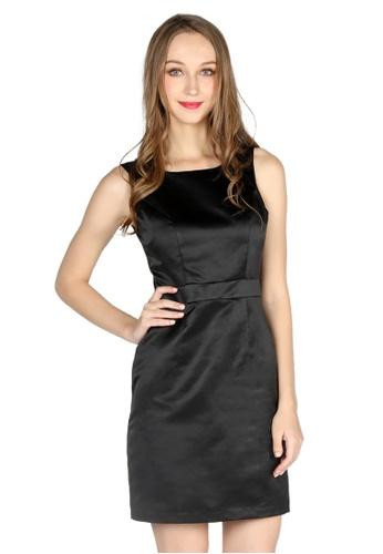 London Rag black Black Satin Bodycon Mini Dress F33B5AAC6E4DB1GS_1