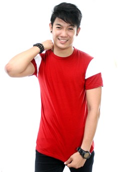 T-Shirt with Contrast Sleeves Colour Block