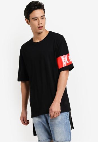 Flesh IMP black Banded Box Cut Oversized T-Shirt FL064AA92FCDMY_1