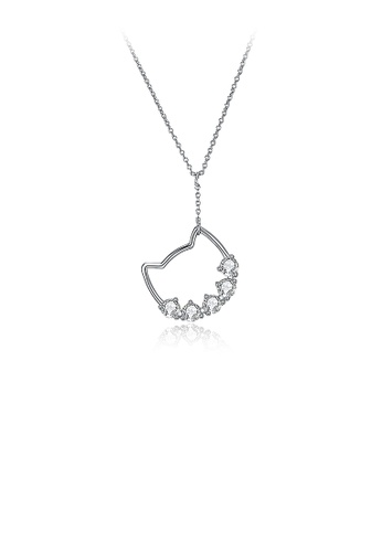 Glamorousky white 925 Sterling Silver Simple Cat Pendant with Austrian Element Crystal and Necklace 0C9D1ACED9D164GS_1