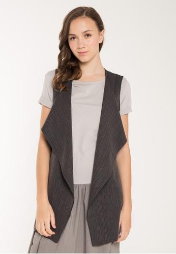 JOVET black Pinstriped Vest JO914AA95SJOSG_1