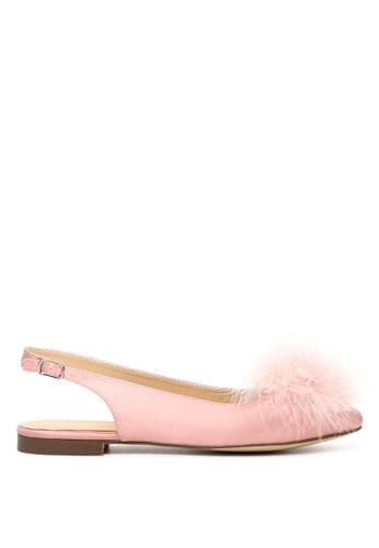 London Rag 粉紅色 LONDON RAG 女式淡粉色毛球后空平底凉鞋 SH1626 09132SH8AC7F53GS_1