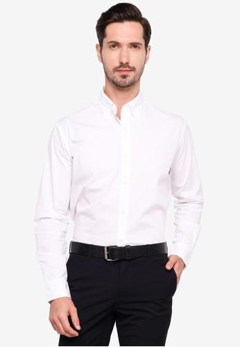 Sacoor Brothers white Regular fit cotton elastane comfort poplin shirt in garment dye 34678AA77F8E66GS_1
